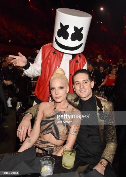 Marshmello Halsey and GEazy attend the 2018 iHeartRadio Music Awards which broadcasted live on TBS TNT and truTV at The Forum on March 11 2018 in...