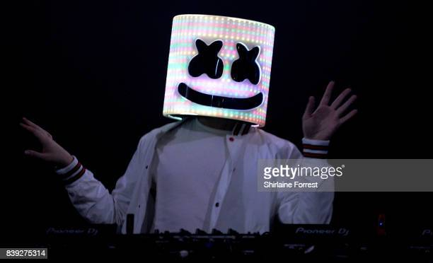 Marshmello performs at Leeds Festival at Bramhall Park on August 25 2017 in Leeds England