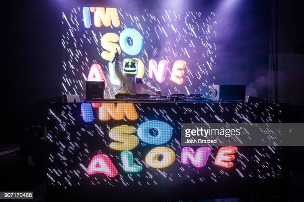 Marshmello performs at Mardi Gras World on January 18 2018 in New Orleans Louisiana