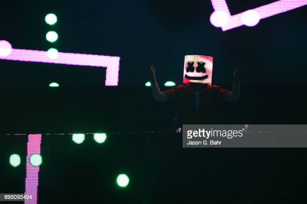 Marshmello performs at Red Rocks Amphitheatre on June 11 2017 in Morrison Colorado
