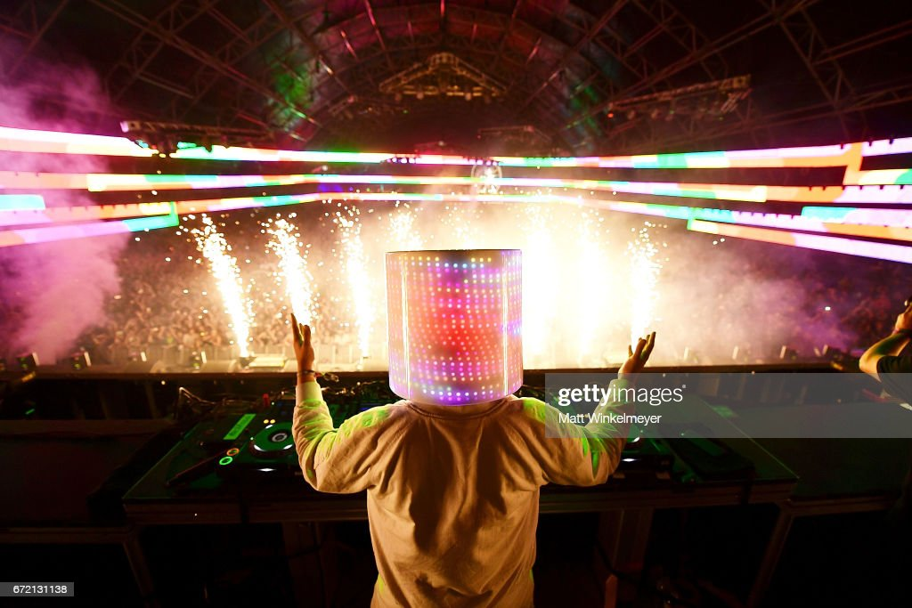 Marshmello performs at the Sahara Tent during day 3 of the Coachella Valley Music And Arts Festival (Weekend 2) at the Empire Polo Club on April 23, 2017 in Indio, California.