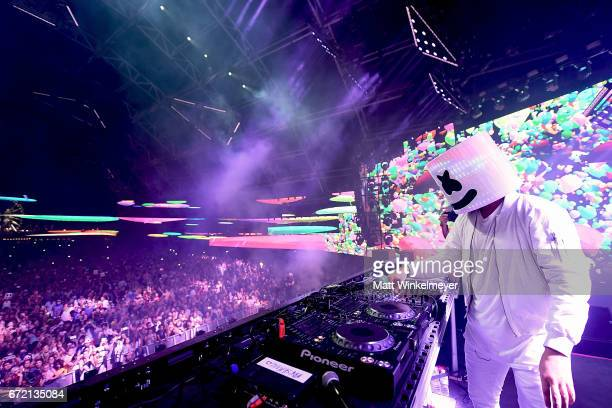 Marshmello performs at the Sahara Tent during day 3 of the Coachella Valley Music And Arts Festival at the Empire Polo Club on April 23 2017 in Indio...