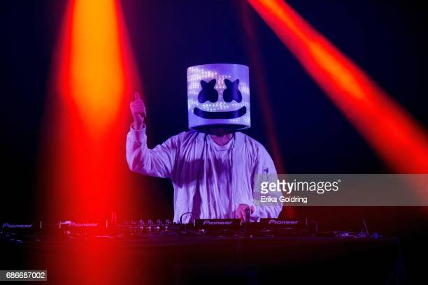 Marshmello performs during the 2017 Hangout Music Festival on May 21 2017 in Gulf Shores Alabama
