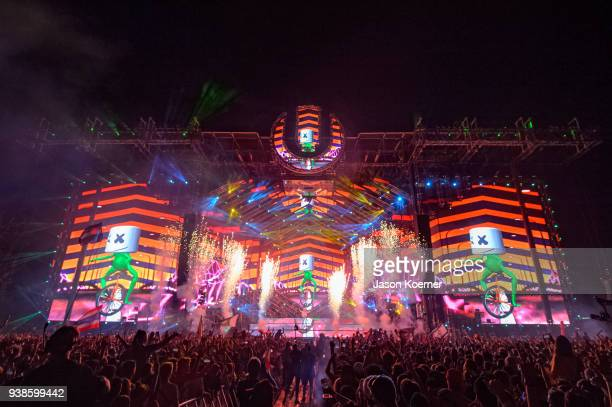 Marshmello performs during Ultra Music Festival 2018 at Bayfront Park on March 24 2018 in Miami Florida