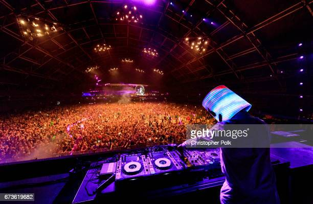 Marshmello performs in the Sahara Tent during day 3 of the 2017 Coachella Valley Music Arts Festival at the Empire Polo Club on April 23 2017 in...