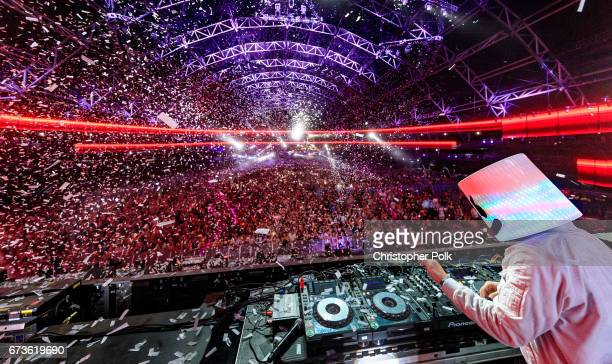 Marshmello performs in the Sahara Tent during day 3 of the 2017 Coachella Valley Music & Arts Festival at the Empire Polo Club on April 23, 2017 in...