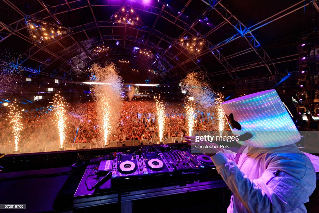 DJ Marshmello performs in the Sahara Tent during day 3 of the 2017 Coachella Valley Music & Arts Festival (Weekend 2) at the Empire Polo Club on April 23, 2017 in Indio, California.