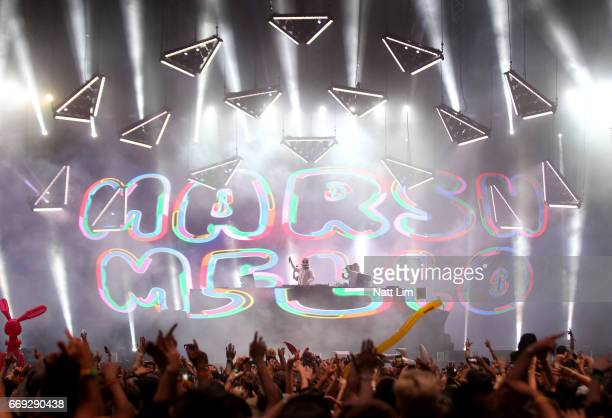 Marshmello performs in the Sahara Tent during day 3 of the Coachella Valley Music And Arts Festival at the Empire Polo Club on April 16 2017 in Indio...