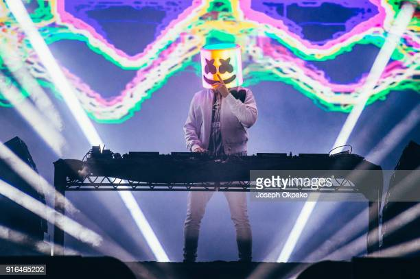 Marshmello performs live on stage during Redfestdxb Festival 2018 on February 9 2018 in Dubai United Arab Emirates