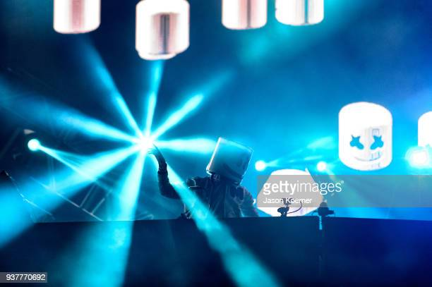 Marshmello performs on stage at Ultra Music Festival 2018 at Bayfront Park on March 24 2018 in Miami Florida