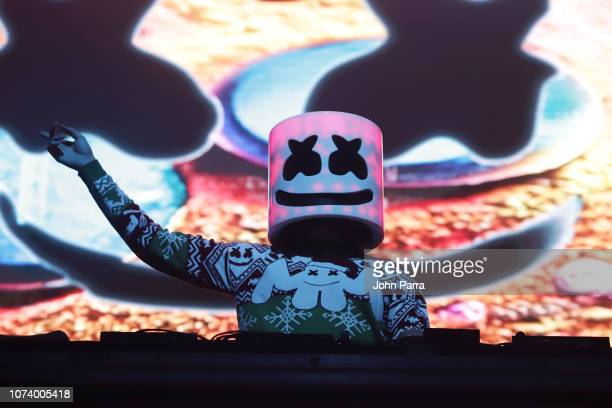 Marshmello performs on stage during 933 FLZ's Tampa Jingle Ball on December 15 2018 in Tampa Florida