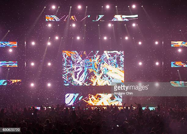Marshmello performs on stage during day 2 of Contact Winter Music Festival 2016 at BC Place on December 27 2016 in Vancouver Canada