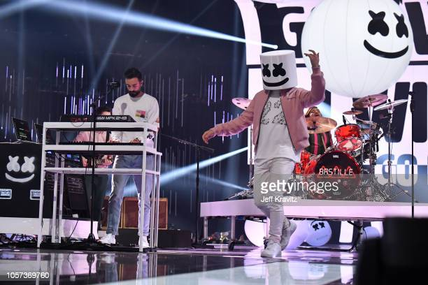 Marshmello performs on stage during the MTV EMAs 2018 on November 4 2018 in Bilbao Spain