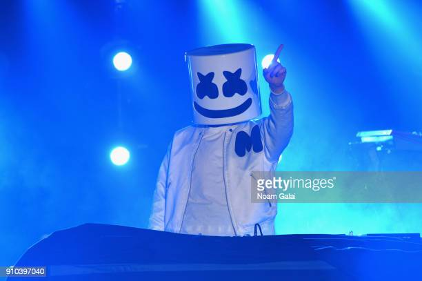 Marshmello performs onstage at Spotify's Best New Artist Party at Skylight Clarkson on January 25 2018 in New York City
