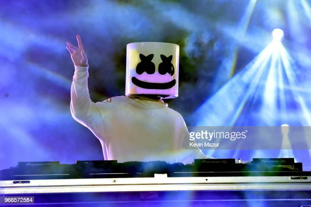 Marshmello performs onstage during the 2018 iHeartRadio Wango Tango by ATT at Banc of California Stadium on June 2 2018 in Los Angeles California
