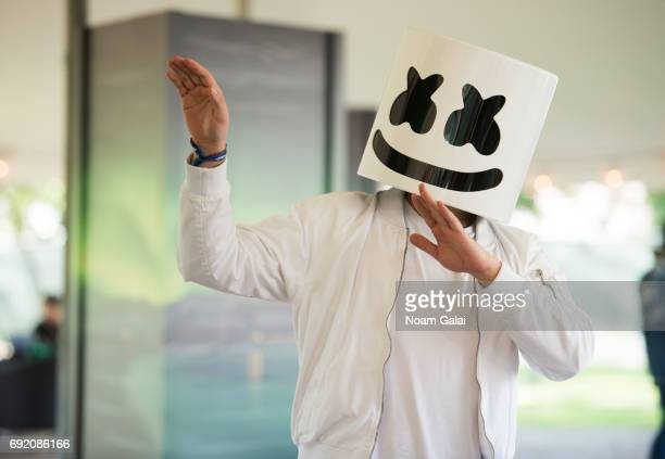 Marshmello poses backstage during 2017 Governors Ball Music Festival Day 2 at Randall's Island on June 3 2017 in New York City