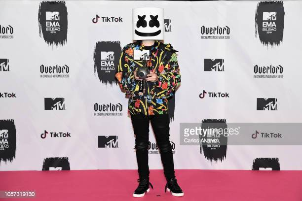 Marshmello poses in the Winners room during the MTV EMAs 2018 at Bilbao Exhibition Centre on November 4 2018 in Bilbao Spain