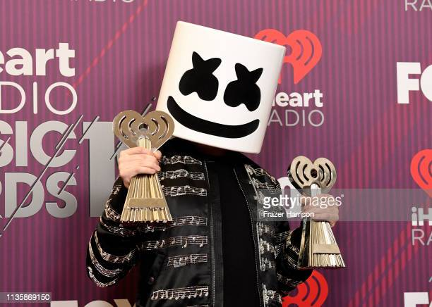 Marshmello winner of Best New Pop Artist and Dance Artist of the Year poses in the press room during the 2019 iHeartRadio Music Awards which...