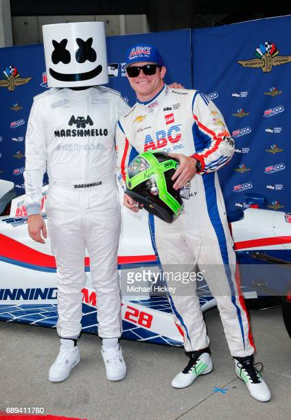 Marshmellow and Conor Daly appear on the red carpet at Indianapolis Motor Speedway on May 28 2017 in Indianapolis Indiana