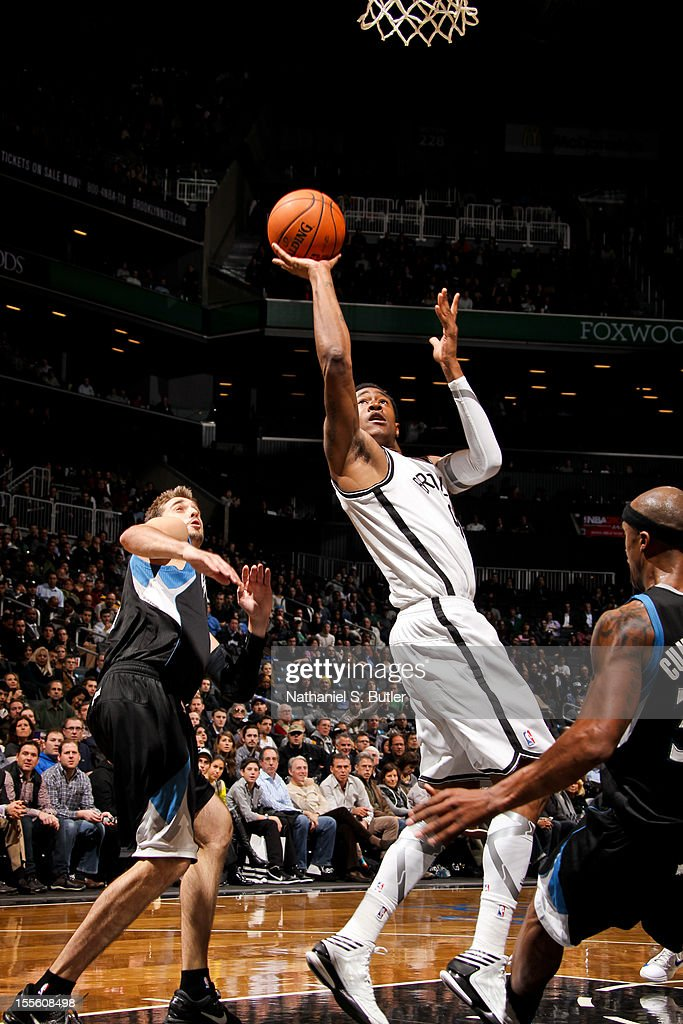 MarShon Brooks #9 shoots against the Minnesota Timberwolves on November 5, 2012 at the Barclays Center in Brooklyn, New York.