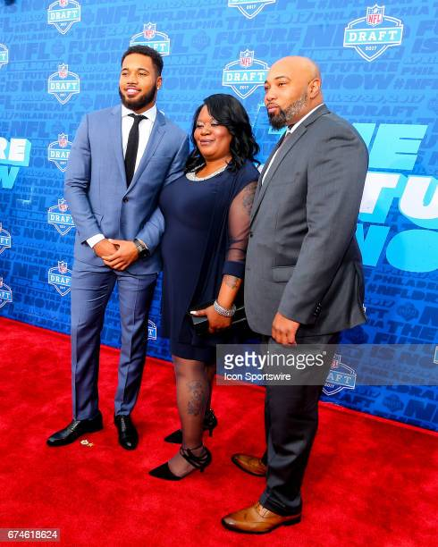 Marshon Lattimore and his family on the Red Carpet outside of the NFL Draft Theater on April 27 2017 in Philadelphia PA