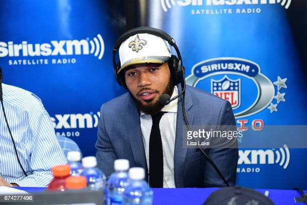 Marshon Lattimore of Ohio State visits the SiriusXM NFL Radio talkshow after being picked overall by the New Orleans Saints during the first round of...