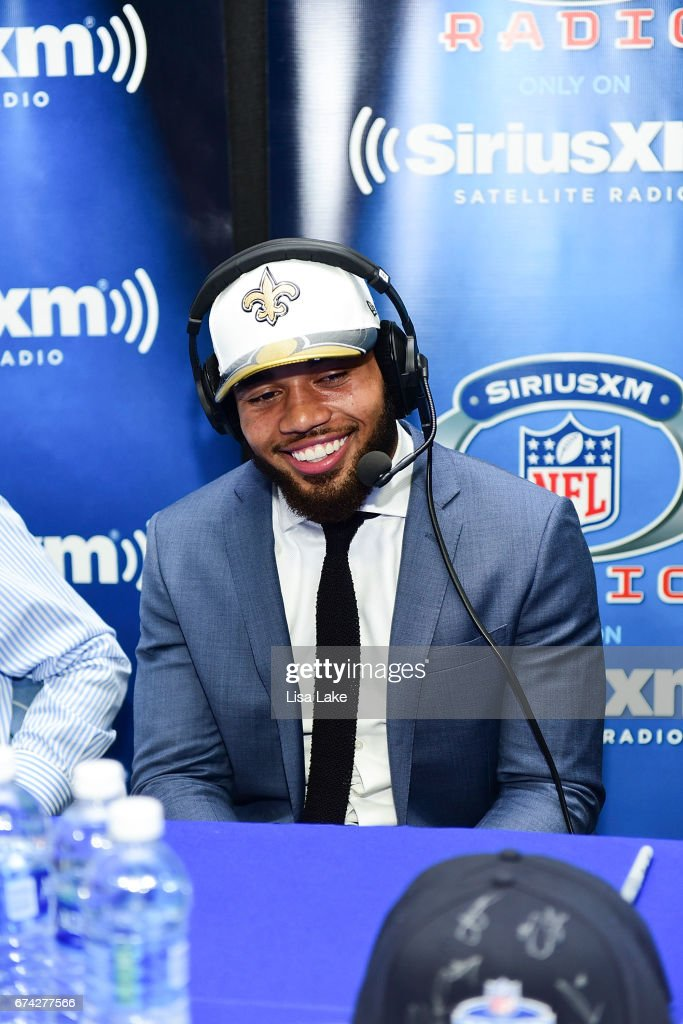 Marshon Lattimore of Ohio State visits the SiriusXM NFL Radio talkshow after being picked #11 overall by the New Orleans Saints during the first round of 2017 NFL Draft at Philadelphia Museum of Art on April 27, 2017 in Philadelphia, Pennsylvania.