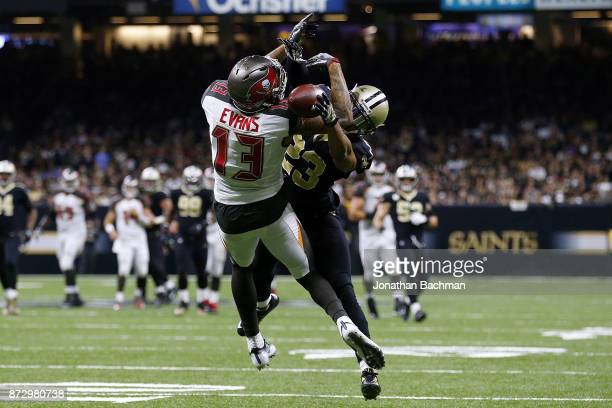 Marshon Lattimore of the New Orleans Saints breaks up a pass intended for Mike Evans of the Tampa Bay Buccaneers during the second half of a game at...