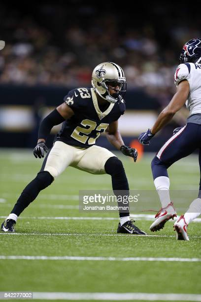 Marshon Lattimore of the New Orleans Saints defends during the first half of a preseason game against the Houston Texans at the MercedesBenz...