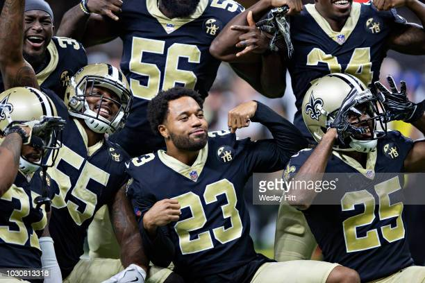 Marshon Lattimore of the New Orleans Saints poses with teammates during a game against the Los Angeles Rams at MercedesBenz Superdome during week 4...