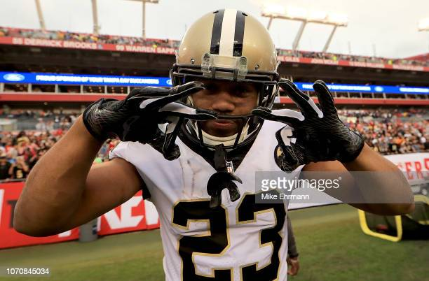 Marshon Lattimore of the New Orleans Saints reacts to a play during a game against the Tampa Bay Buccaneers at Raymond James Stadium on December 9...