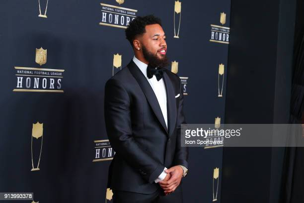Marshon Lattimore poses for photographs on the Red Carpet at NFL Honors during Super Bowl LII week on February 3 at Northrop at the University of...