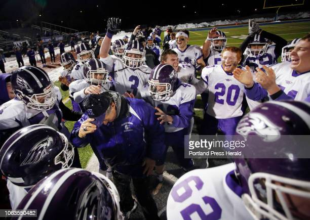 Marshwood vs Brunswick in the Class B State Championship game at Fitzpatrick Stadium Marshwood players celebrate with head coach Alex Rotsko after...