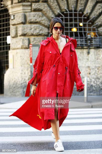 Marsica Fossati is wearing Luisa Via Roma is seen outside of showroom of LVR during Milan Fashion Week Spring/Summer 2018 on September 20 2017 in...