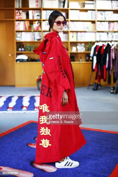 Marsica Fossati is wearing of Luisa Via Roma is seen outside of showroom of LVR during Milan Fashion Week Spring/Summer 2018 Êon September 21 2017 in...