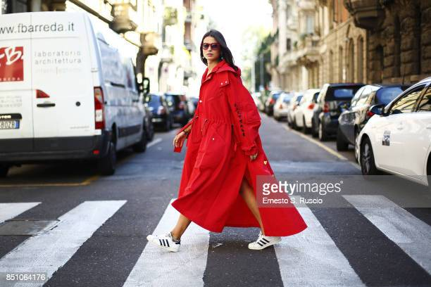Marsica Fossati is wearing of Luisa Via Roma is seen outside of showroom of LVR during Milan Fashion Week Spring/Summer 2018 on September 21 2017 in...