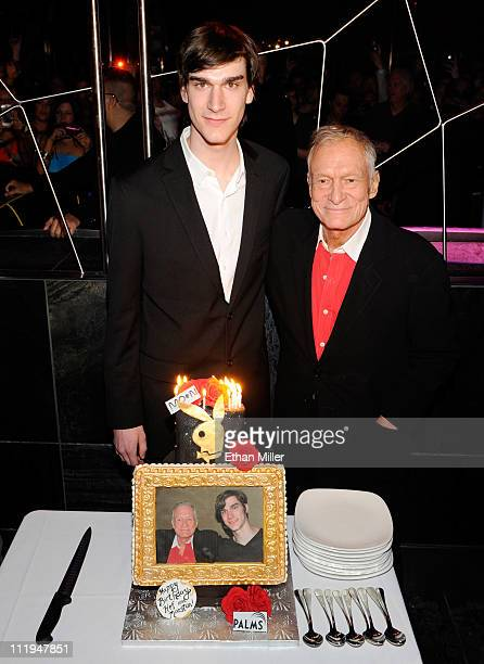 Marston Hefner and his father Playboy founder Hugh Hefner celebrate their birthdays with a cake at the Moon nightclub at the Palms Casino Resort...