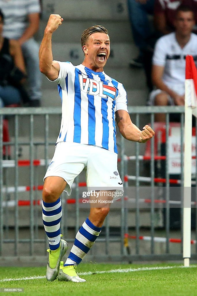 Mart Lieder of FC Eindhoven celebrates the first goal during the friendly match between FC Eindhoven and PSV Eindhoven at Philips Stadium on July 26, 2016 in Eindhoven, Netherlands.