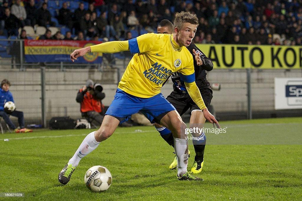 Mart Lieder of RKC Waalwijk, Pele van Anholt of Heerenveen during the Dutch Eredivisie match between RKC Waalwijk and SC Heerenveen at the Mandemakers Stadium on february 1, 2013 in Waalwijk, The Netherlands