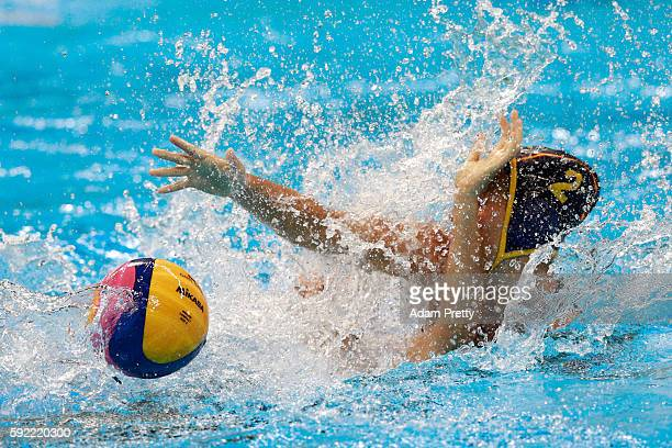 Marta Bach Pascual of Spain competes for the ball during the Women's Water Polo 5th 6th Classification match between Australia and Spain on Day 14 of...