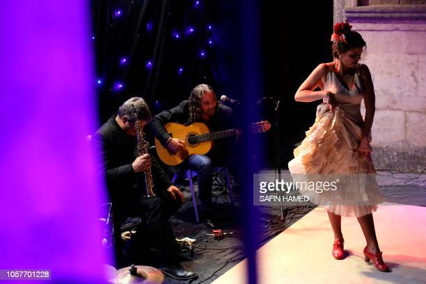 Marta Balparda a flamenco dancer and choreographer from Seville performs on stage at the Arbil citadel on November 5 in the northern Iraqi city and...