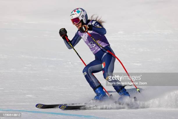 Marta Bassino of Italy celebrates during the Audi FIS Alpine Ski World Cup Women's Super Giant Slalom on January 10, 2021 in ST ANTON Austria.