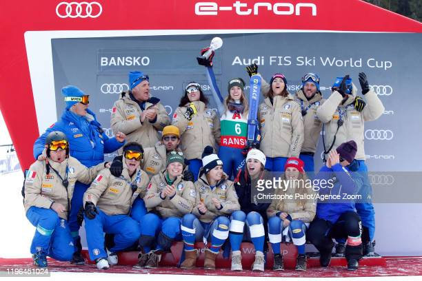 Marta Bassino of Italy celebrates Team Italian celebrates during the Audi FIS Alpine Ski World Cup Women's Super G on January 26 2020 in Bansko...