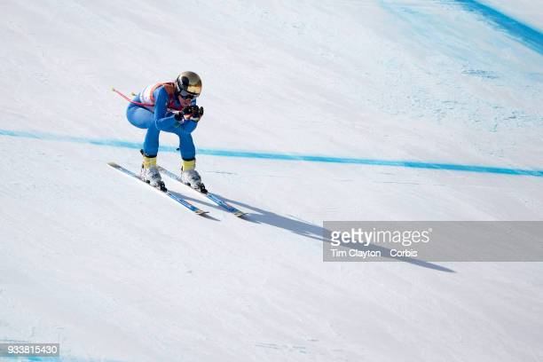 Marta Bassino of Italy in action during the Alpine Skiing Ladies' Alpine Combined Downhill at Jeongseon Alpine Centre on February 22 2018 in...