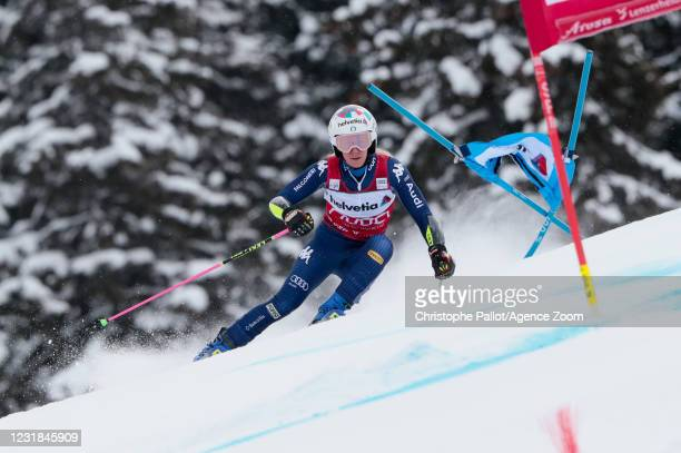 Marta Bassino of Italy in action during the Audi FIS Alpine Ski World Cup Women's Giant Slalom on March 21, 2021 in Lenzerheide, Switzerland.