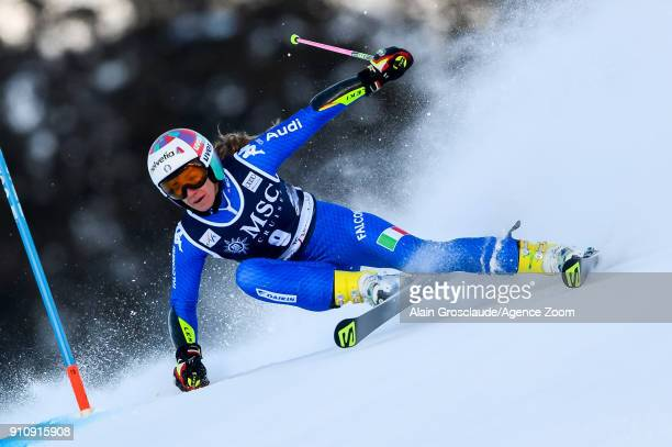 Marta Bassino of Italy in action during the Audi FIS Alpine Ski World Cup Women's Giant Slalom on January 27, 2018 in Lenzerheide, Switzerland.