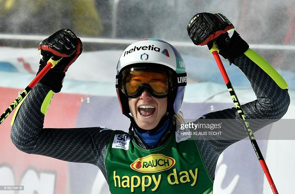 Marta Bassino of Italy reacts after the second run of the ladies' giant slalom of the FIS ski world cup in Soelden, Austria on October 22, 2016. / AFP / APA / HANS KLAUS TECHT / Austria OUT