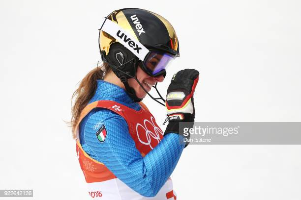 Marta Bassino of Italy reacts during the Ladies' Alpine Combined on day thirteen of the PyeongChang 2018 Winter Olympic Games at Yongpyong Alpine...