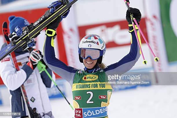 Marta Bassino of Italy takes 1st place during the Audi FIS Alpine Ski World Cup Women's Giant Slalom on October 17, 2020 in Soelden, Austria.