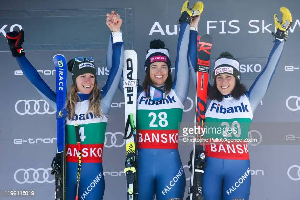 Marta Bassino of Italy takes 2nd place, Elena Curtoni of Italy takes 1st place, Federica Brignone of Italy takes 3rd place during the Audi FIS Alpine...